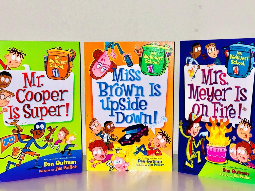 """Dan Gutman book series """"My Weirdest School,"""" books 1,3,and 4."""